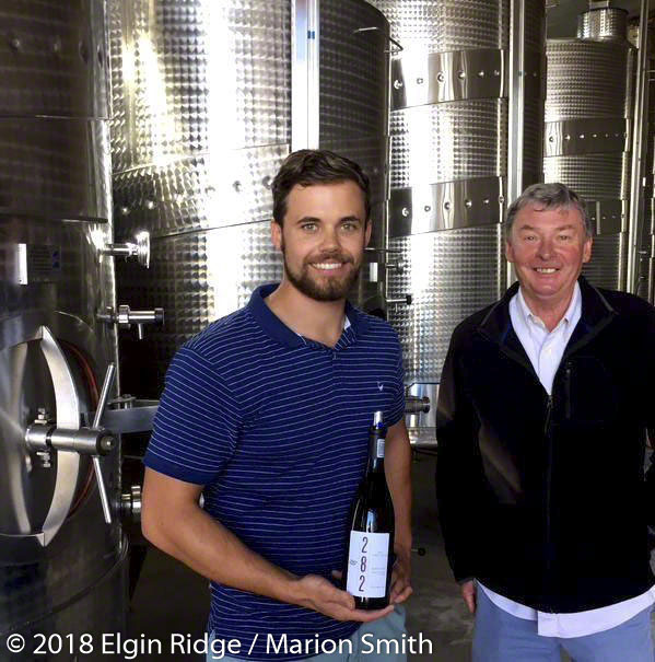 Brian and Koise with Elgin Ridge Pinot Noir