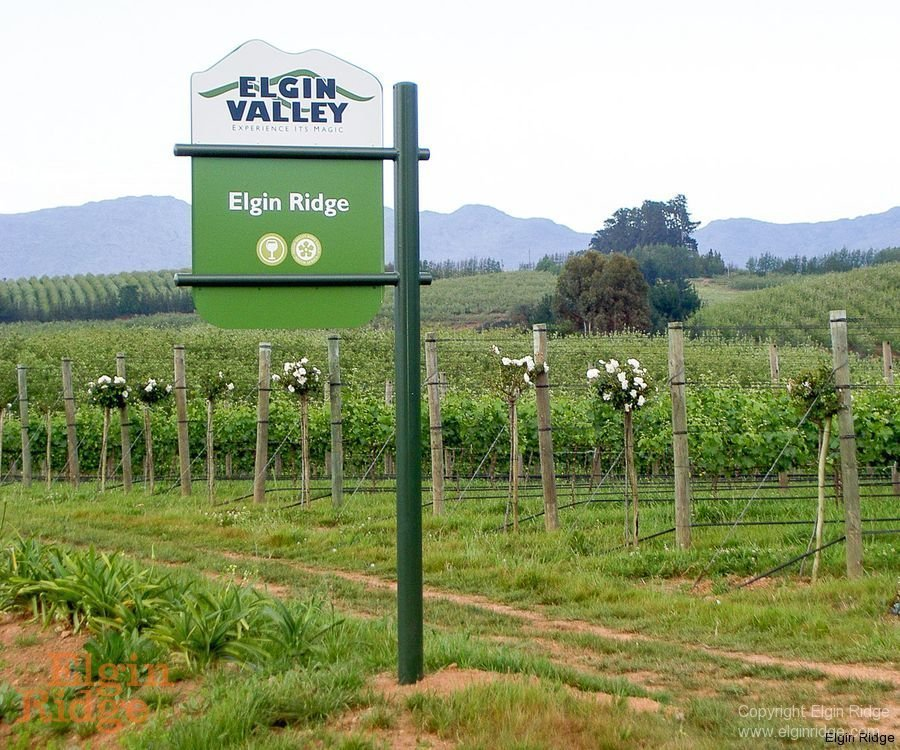 Elgin Ridge Wines, sign at the farm entrance