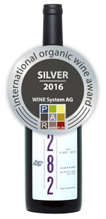Bottle shot of Elgin Ridge 2014 Pinot Noir with Silver International Organic Wine Award